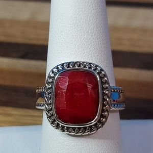 Corundum Royal Ruby Ring in SS NWT sz 8